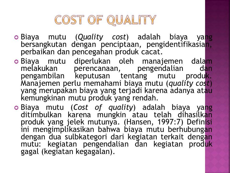 Biaya mutu (Quality cost) adalah biaya yang bersangkutan dengan penciptaan, pengidentifikasian, perbaikan dan pencegahan produk cacat.
