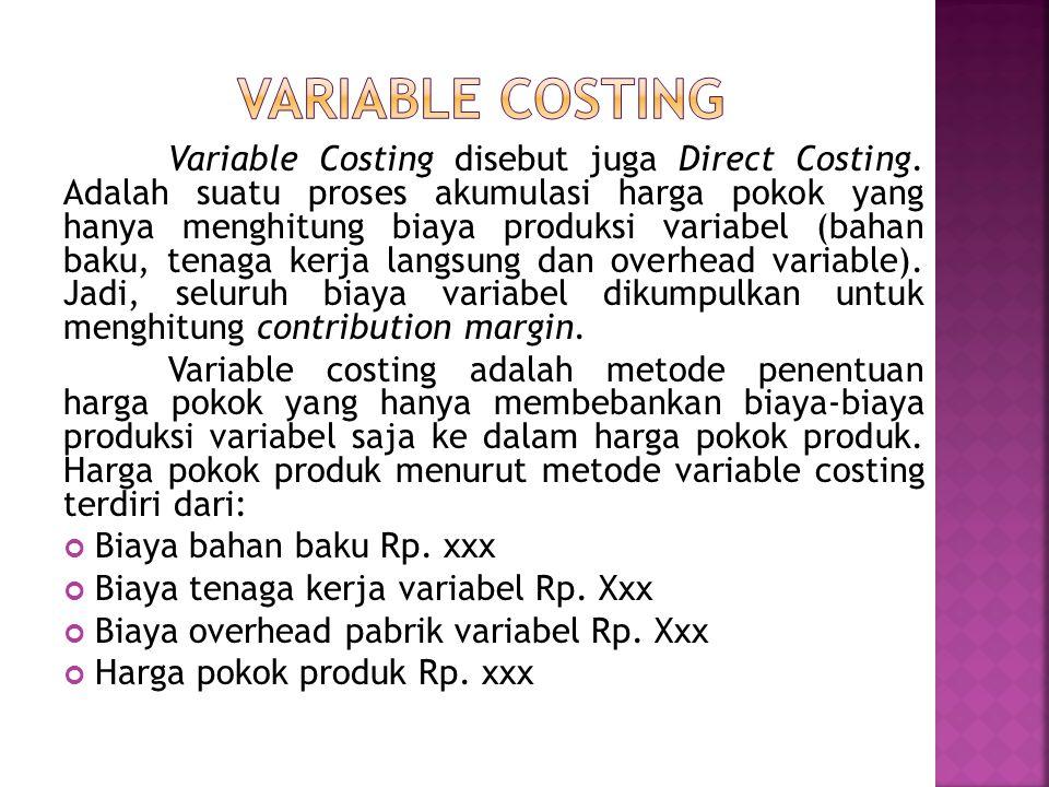 Variable Costing disebut juga Direct Costing.