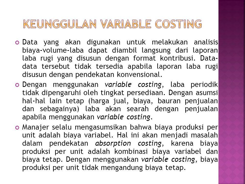 Data yang akan digunakan untuk melakukan analisis biaya-volume-laba dapat diambil langsung dari laporan laba rugi yang disusun dengan format kontribusi.