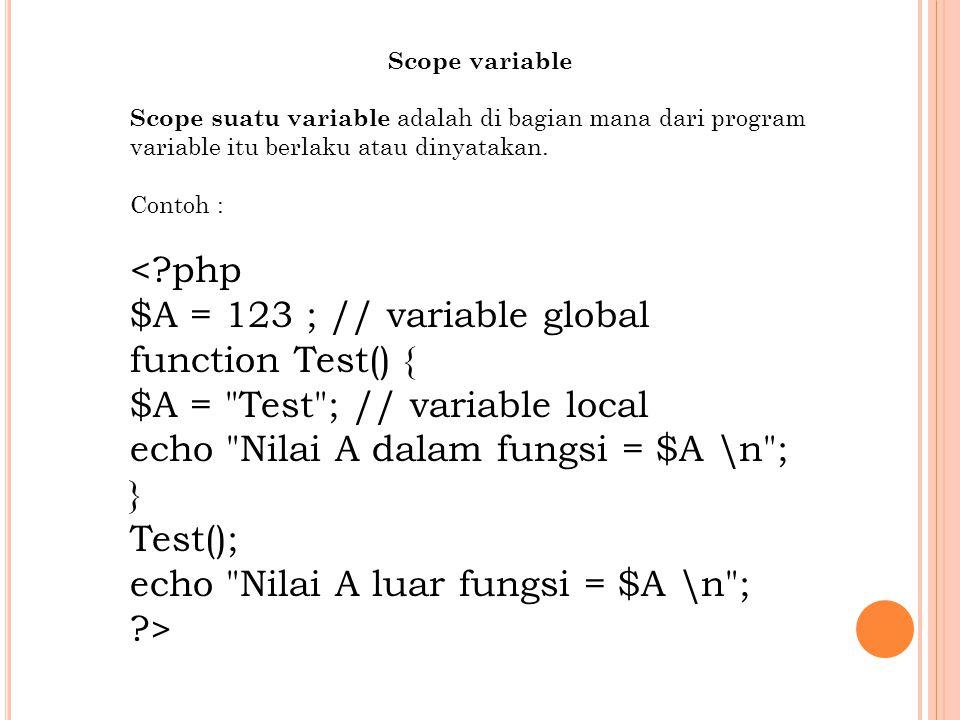 Scope variable Scope suatu variable adalah di bagian mana dari program variable itu berlaku atau dinyatakan.