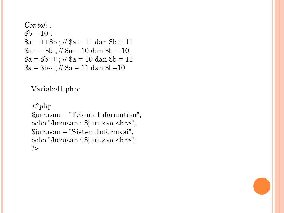 Contoh : $b = 10 ; $a = ++$b ; // $a = 11 dan $b = 11 $a = --$b ; // $a = 10 dan $b = 10 $a = $b++ ; // $a = 10 dan $b = 11 $a = $b-- ; // $a = 11 dan $b=10 Variabel1.php: <?php $jurusan = Teknik Informatika ; echo Jurusan : $jurusan ; $jurusan = Sistem Informasi ; echo Jurusan : $jurusan ; ?>