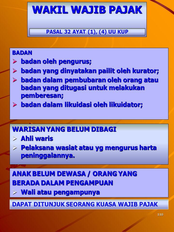 109 TATA CARA PEMERIKSAAN PASAL 31 UU KUP DITETAPKAN OLEH MENTERI KEUANGAN 545/KMK.04/2000 jo 123/PMK.03/2006