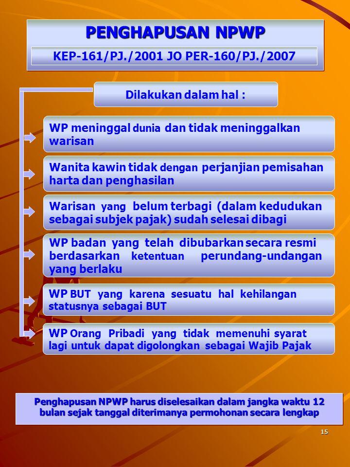 14 WAJIB PAJAK PINDAH ALAMAT WAJIB PAJAK PINDAH ALAMAT KEP-161/PJ./2001 jo PER-160/PJ./2007 Permohonan WP dengan Surat Pernyataan Pindah Menerbitkan S