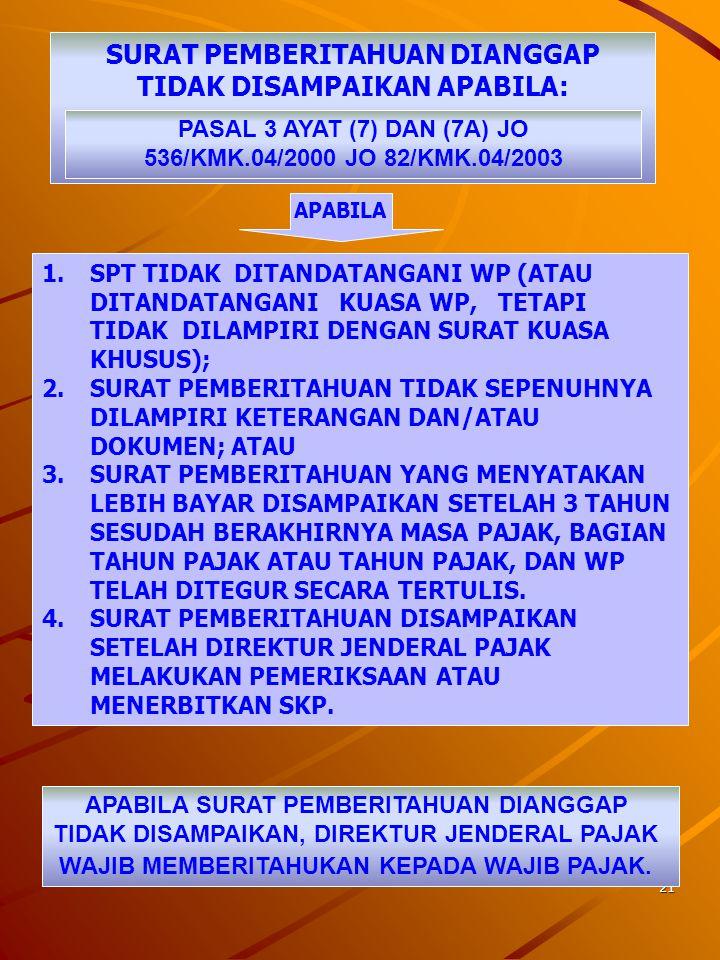 20 KEWAJIBAN PEMENUHAN SPT PASAL 3 AYAT (1), (2), (3), DAN (7) UU KUP WAJIB PAJAK KPP/KP4 MENGAMBIL SENDIRI MENGISI MENANDATANGANI MENYAMPAIKAN BATAS