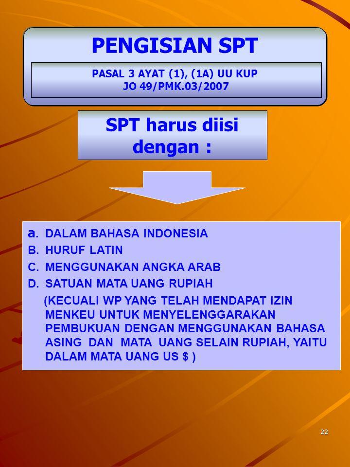 21 SURAT PEMBERITAHUAN DIANGGAP TIDAK DISAMPAIKAN APABILA: PASAL 3 AYAT (7) DAN (7A) JO 536/KMK.04/2000 JO 82/KMK.04/2003 1.SPT TIDAK DITANDATANGANI W