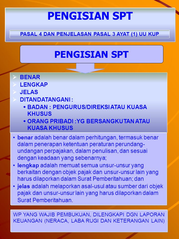 25 DIKECUALIKAN DARI KEWAJIBAN PENYAMPAIAN SPT PASAL 3 AYAT (8) UU KUP JO. KMK NO.535/KMK.04/2000 DIKECUALIKAN DARI KEWAJIBAN PENYAMPAIAN SPT ADALAH :