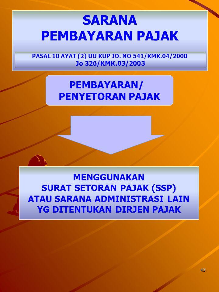 42 TEMPAT PEMBAYARAN/ PENYETORAN PAJAK PASAL 10 AYAT (1) UU KUP JO. 541/KMK.04/2000 JO 326/KMK.03/2003 TEMPAT PEMBAYARAN/PENYETORAN BANK BUMN/D ATAU B