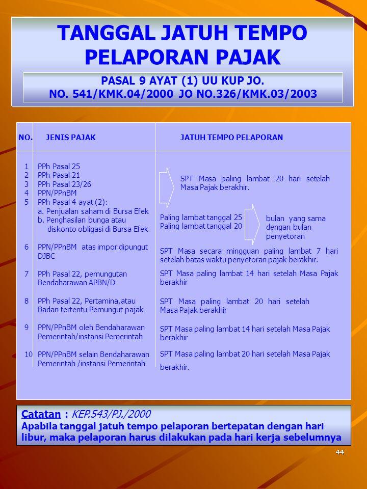 43 SARANA PEMBAYARAN PAJAK PASAL 10 AYAT (2) UU KUP JO. NO 541/KMK.04/2000 Jo 326/KMK.03/2003 PEMBAYARAN/ PENYETORAN PAJAK MENGGUNAKAN SURAT SETORAN P