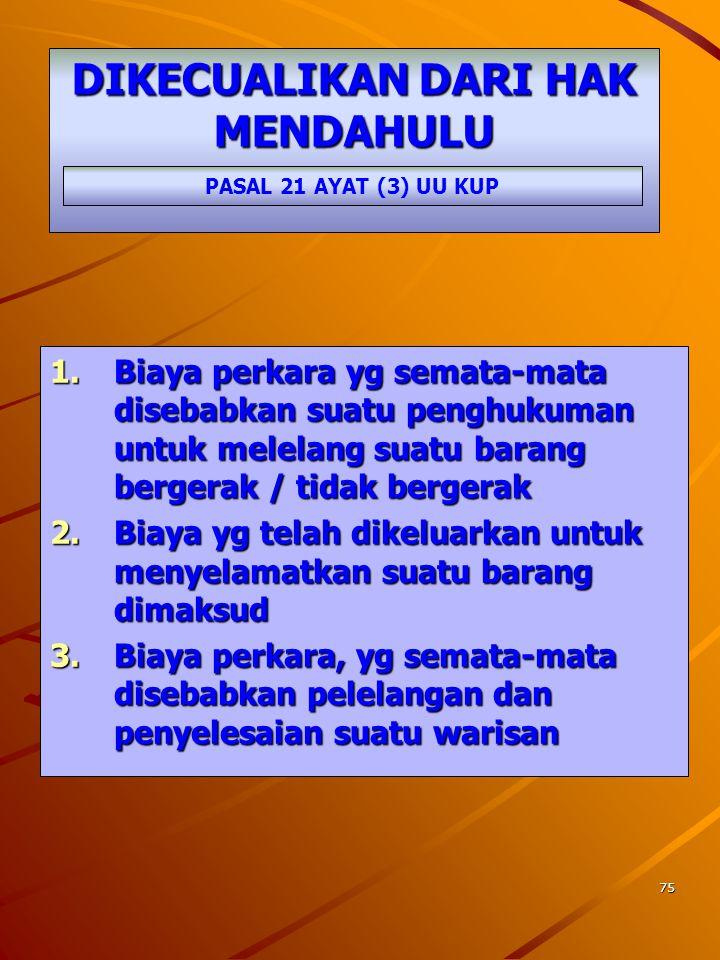 74 Negara mempunyai Hak Mendahulu untuk Tagihan Pajak Barang- barang milik Penanggung Pajak HAK MENDAHULU PASAL 21 AYAT (1) DAN AYAT (2) UU KUP Melipu