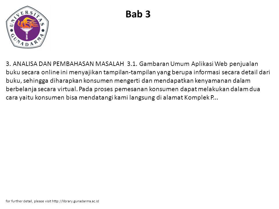 Bab 3 3.ANALISA DAN PEMBAHASAN MASALAH 3.1.