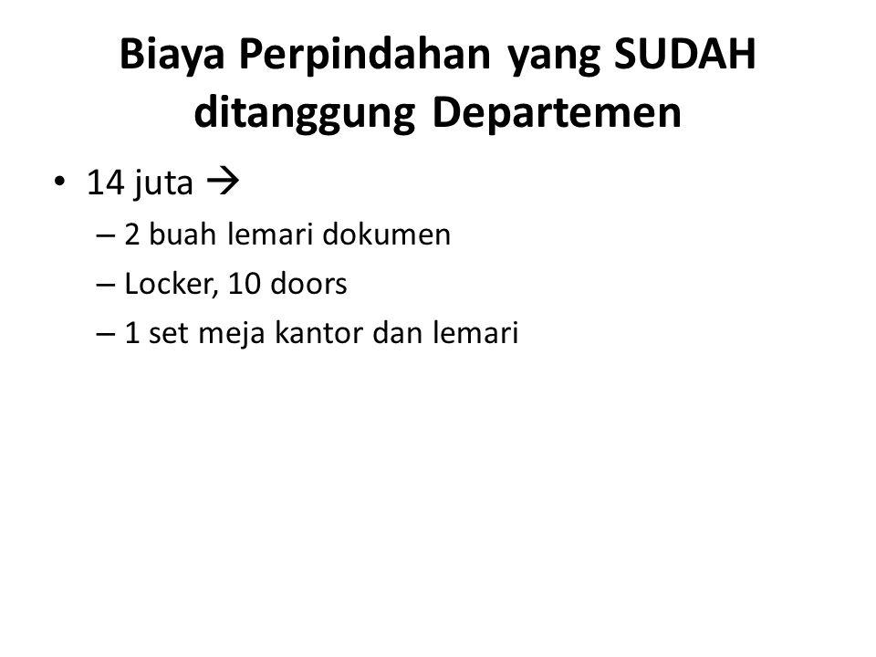 Biaya Perpindahan yang SUDAH ditanggung Departemen 14 juta  – 2 buah lemari dokumen – Locker, 10 doors – 1 set meja kantor dan lemari