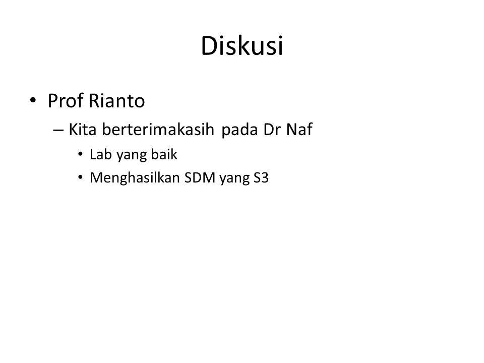 Diskusi Prof Rianto – Kita berterimakasih pada Dr Naf Lab yang baik Menghasilkan SDM yang S3
