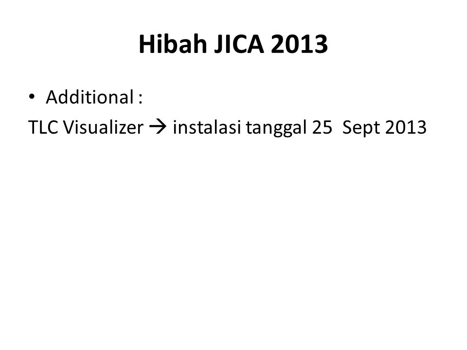 Hibah JICA 2013 Additional : TLC Visualizer  instalasi tanggal 25 Sept 2013
