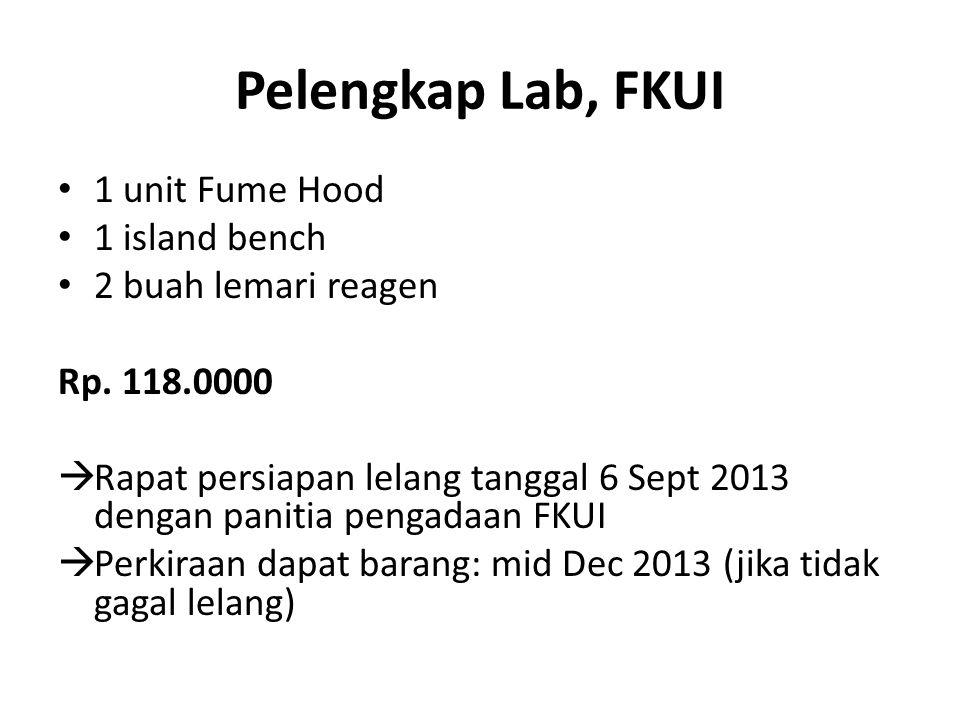Pelengkap Lab, FKUI 1 unit Fume Hood 1 island bench 2 buah lemari reagen Rp.
