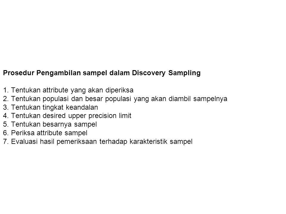 Prosedur Pengambilan sampel dalam Discovery Sampling 1.