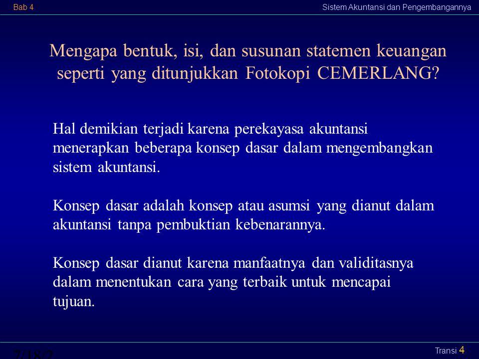 Bab 4Sistem Akuntansi dan Pengembangannya7/18/2015 Transi 5 Konsep Dasar Penting untuk Pengembangan Sistem Kesatuan usaha Kos historis Kontinuitas usaha Perioda Substansi di atas bentuk