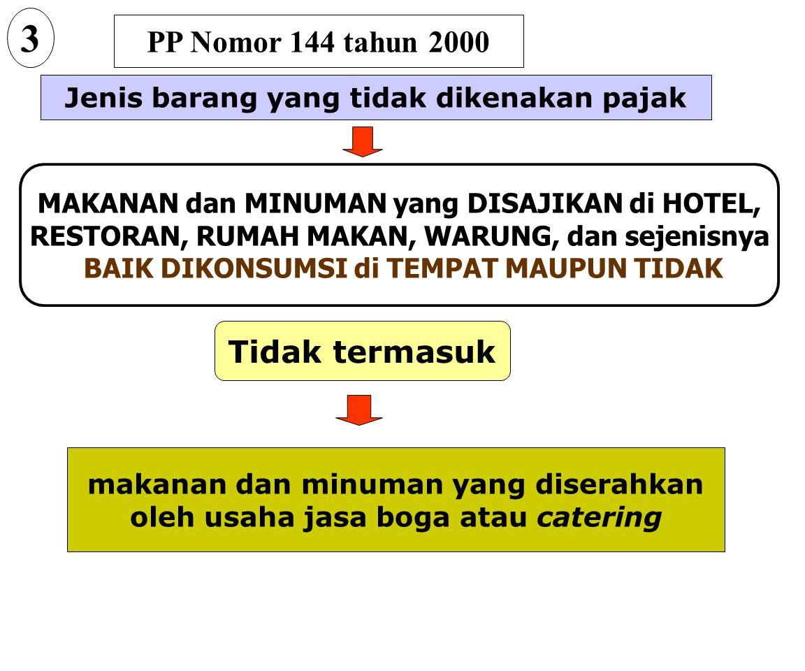 PP Nomor 144 tahun 2000 Jenis barang yang tidak dikenakan pajak BARANG KEBUTUHAN POKOK YANG SANGAT DIBUTUHKAN OLEH RAKYAT BANYAK 2 Beras dan gabah yai