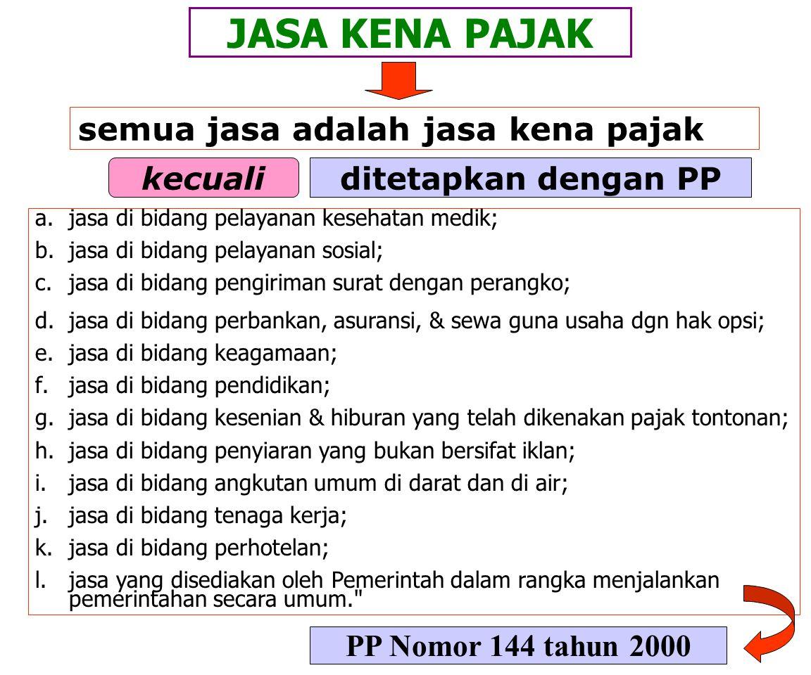 JASA KENA PAJAK Pasal 1 angka 5 dan 6 yang dikenakan pajak berdasarkan UU ini. jenis jasa yang tidak dikenakan pajak ditetapkan dengan PP (Pasal 4a) a