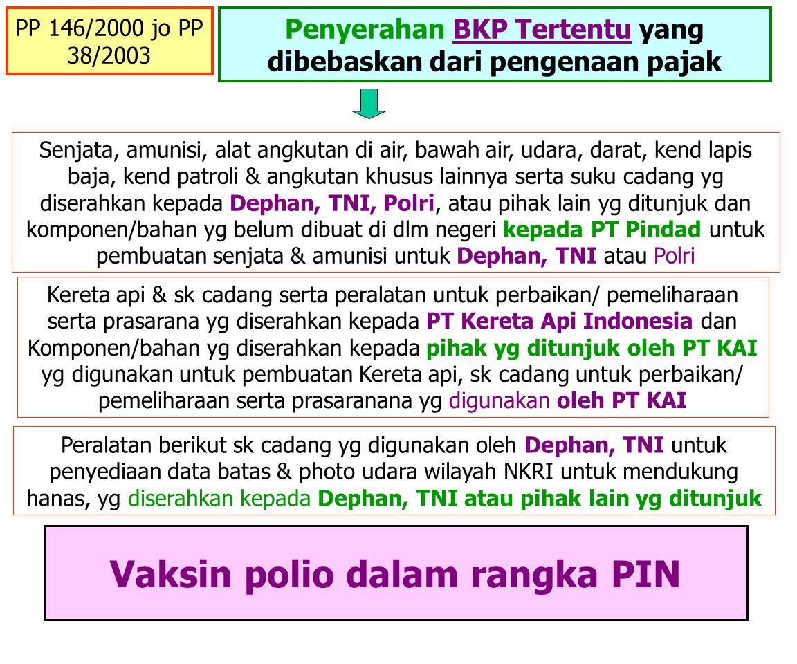 PP No: 42/ 1995 Proyek Pemerintah yang Dananya berasal dari hibah atau pinjaman LN PPN dan PPnBM yang terutang atas penyerahan Barang dan Jasa dalam r