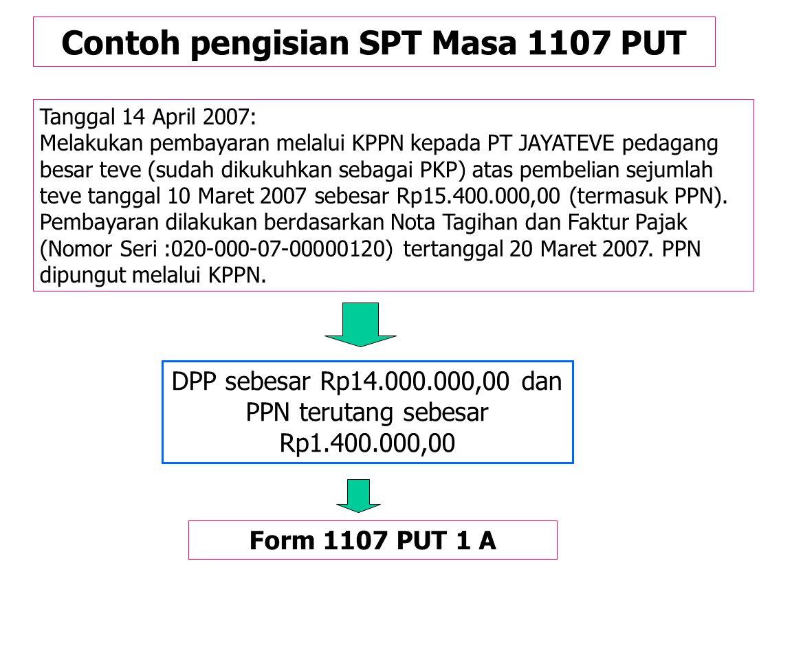 Contoh pengisian SPT Masa 1107 PUT Tanggal 11 April 2007: Melakukan pembayaran rekening listrik bulan Maret 2007 sebesar Rp1.000.000,00. PPN terutang