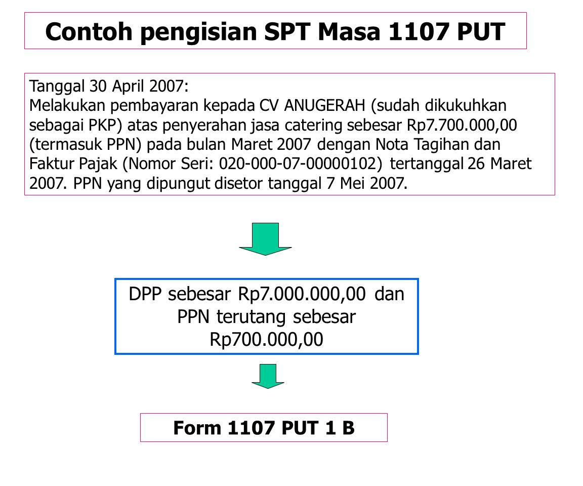 """Contoh pengisian SPT Masa 1107 PUT Tanggal 20 April 2007: Melakukan pembayaran kepada toko buku """"Murni"""" (sudah dikukuhkan sebagai PKP) atas pembelian"""