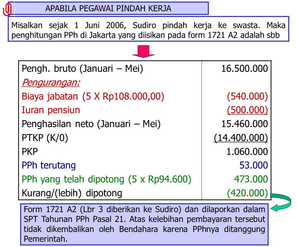 Misalkan sejak 1 Juni 2006, Sudiro dipindahtugaskan dari Jakarta ke Bandung dengan asumsi jumlah penghasilan sama. Maka penghitungan PPh di Jakarta ya