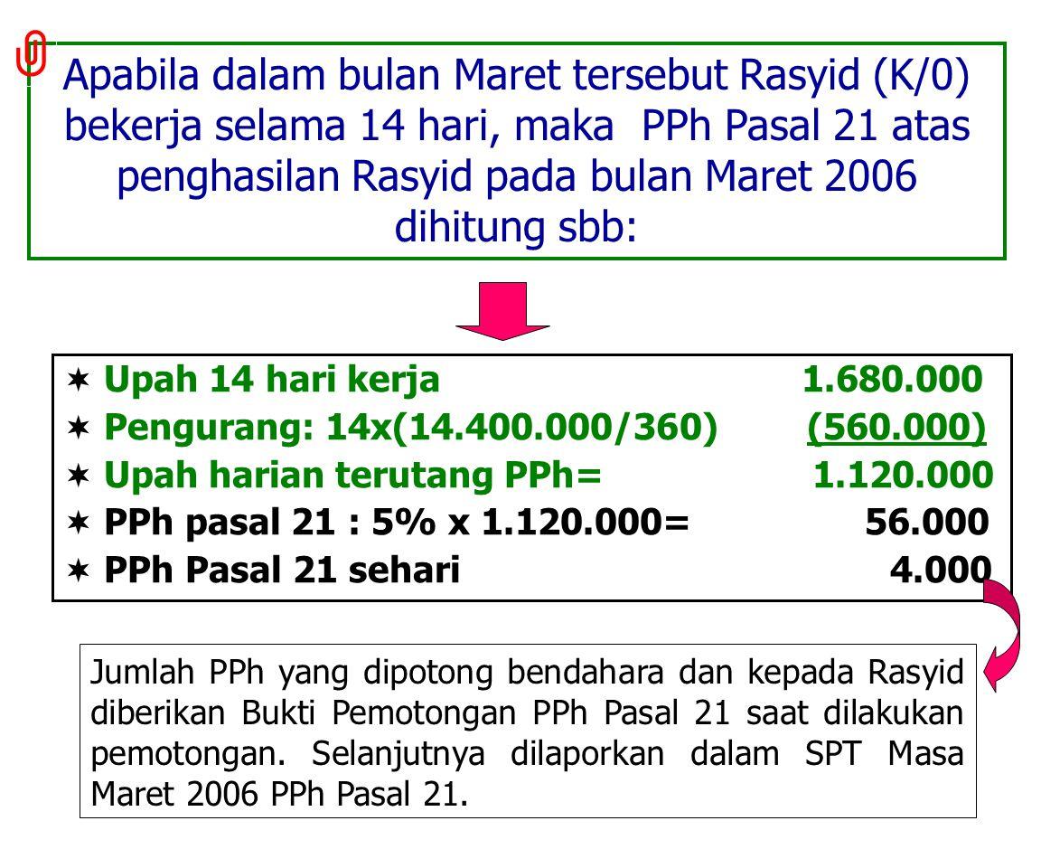 Rasyid (K/0) bekerja pd bln Maret 2006 di BPPK Depkeu untuk mengecat ruangan, menerima upah sebesar Rp120.000 per hari. Bekerja selama 9 hari. Dgn dem