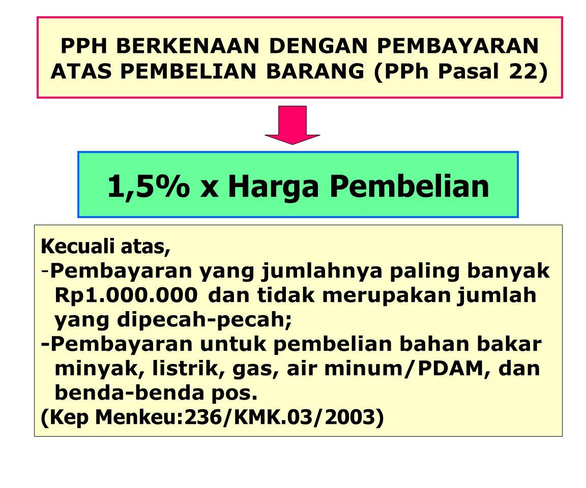 PPH PASAL 22 Menteri Keuangan dapat menetapkan bendaharawan pemerintah untuk memungut pajak sehubungan dengan pembayaran atas penyerahan barang, dan b