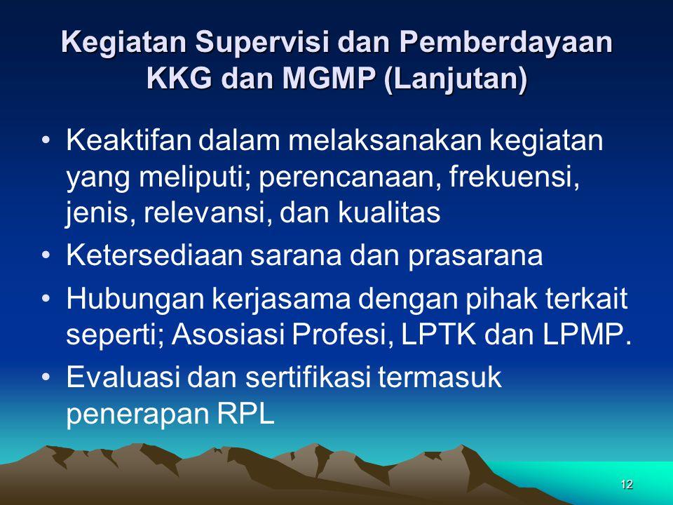 12 Kegiatan Supervisi dan Pemberdayaan KKG dan MGMP (Lanjutan) Keaktifan dalam melaksanakan kegiatan yang meliputi; perencanaan, frekuensi, jenis, relevansi, dan kualitas Ketersediaan sarana dan prasarana Hubungan kerjasama dengan pihak terkait seperti; Asosiasi Profesi, LPTK dan LPMP.