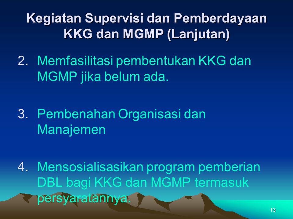 13 Kegiatan Supervisi dan Pemberdayaan KKG dan MGMP (Lanjutan) 2.Memfasilitasi pembentukan KKG dan MGMP jika belum ada.