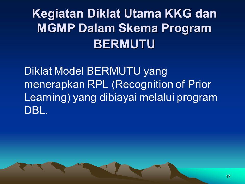 17 Kegiatan Diklat Utama KKG dan MGMP Dalam Skema Program BERMUTU Diklat Model BERMUTU yang menerapkan RPL (Recognition of Prior Learning) yang dibiayai melalui program DBL.