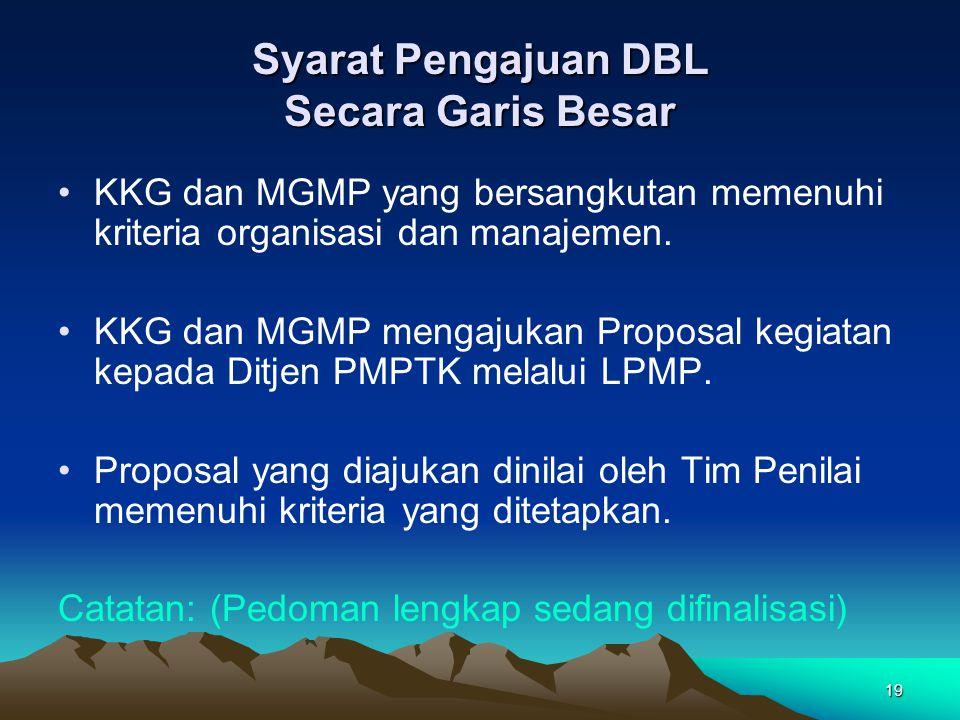 19 Syarat Pengajuan DBL Secara Garis Besar KKG dan MGMP yang bersangkutan memenuhi kriteria organisasi dan manajemen.