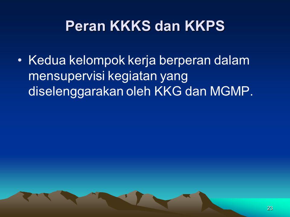 23 Peran KKKS dan KKPS Kedua kelompok kerja berperan dalam mensupervisi kegiatan yang diselenggarakan oleh KKG dan MGMP.