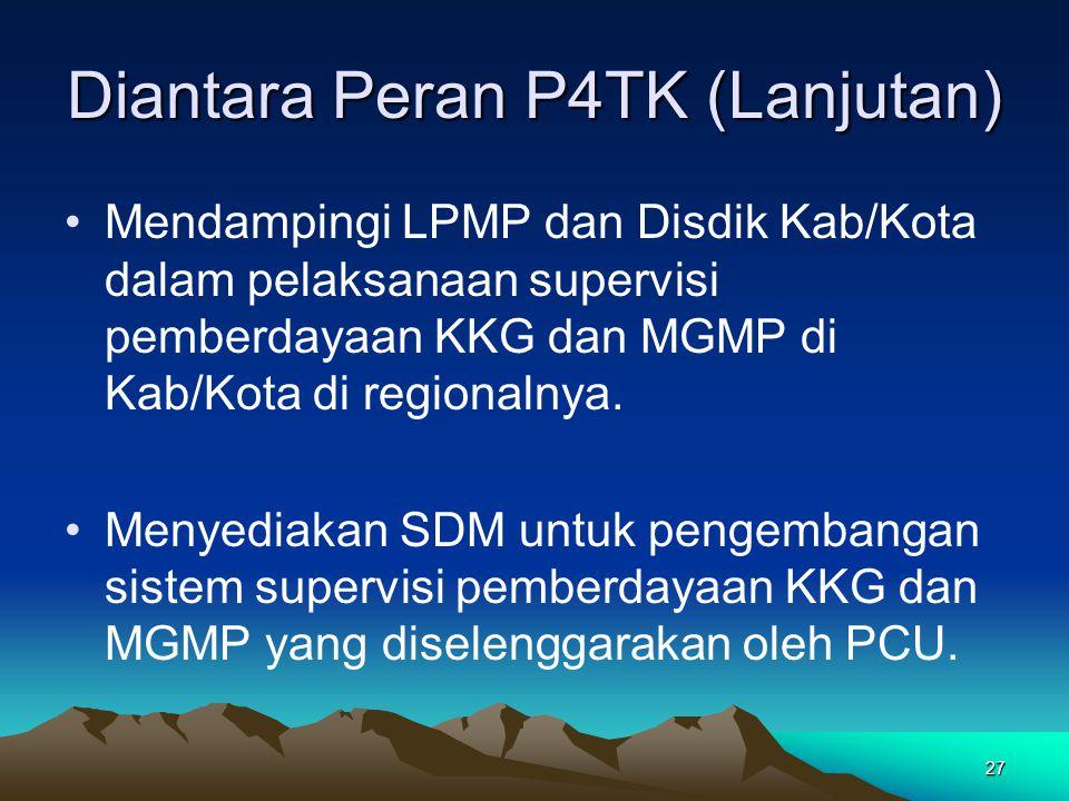 27 Diantara Peran P4TK (Lanjutan) Mendampingi LPMP dan Disdik Kab/Kota dalam pelaksanaan supervisi pemberdayaan KKG dan MGMP di Kab/Kota di regionalnya.