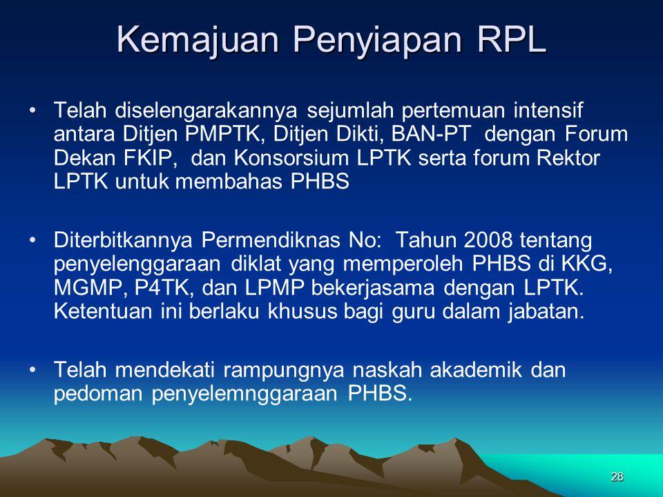 28 Kemajuan Penyiapan RPL Telah diselengarakannya sejumlah pertemuan intensif antara Ditjen PMPTK, Ditjen Dikti, BAN-PT dengan Forum Dekan FKIP, dan Konsorsium LPTK serta forum Rektor LPTK untuk membahas PHBS Diterbitkannya Permendiknas No: Tahun 2008 tentang penyelenggaraan diklat yang memperoleh PHBS di KKG, MGMP, P4TK, dan LPMP bekerjasama dengan LPTK.