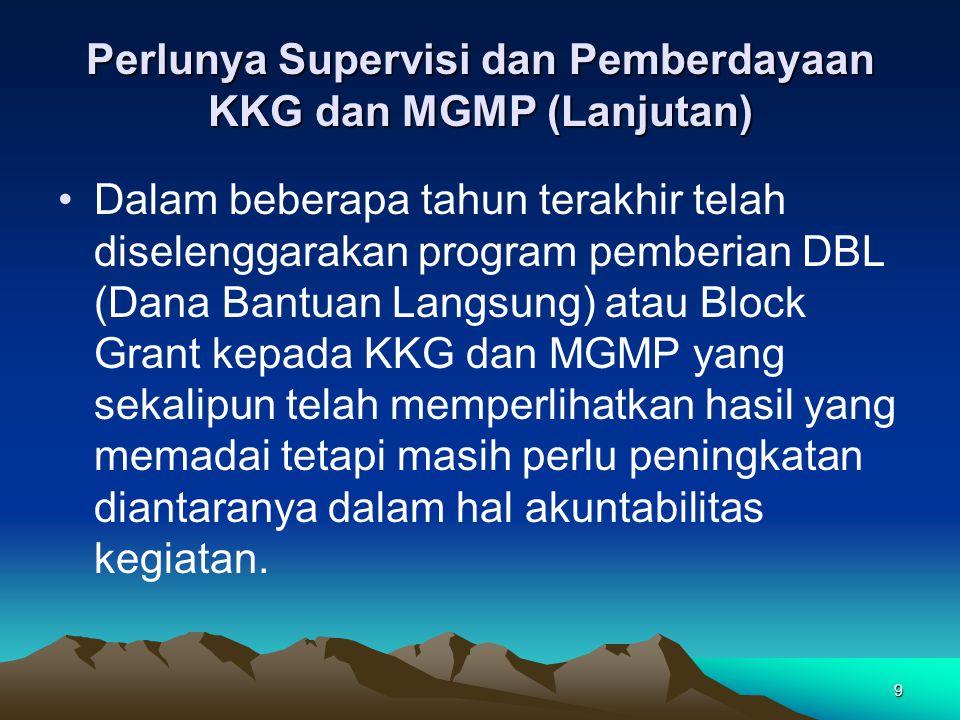 9 Perlunya Supervisi dan Pemberdayaan KKG dan MGMP (Lanjutan) Dalam beberapa tahun terakhir telah diselenggarakan program pemberian DBL (Dana Bantuan Langsung) atau Block Grant kepada KKG dan MGMP yang sekalipun telah memperlihatkan hasil yang memadai tetapi masih perlu peningkatan diantaranya dalam hal akuntabilitas kegiatan.