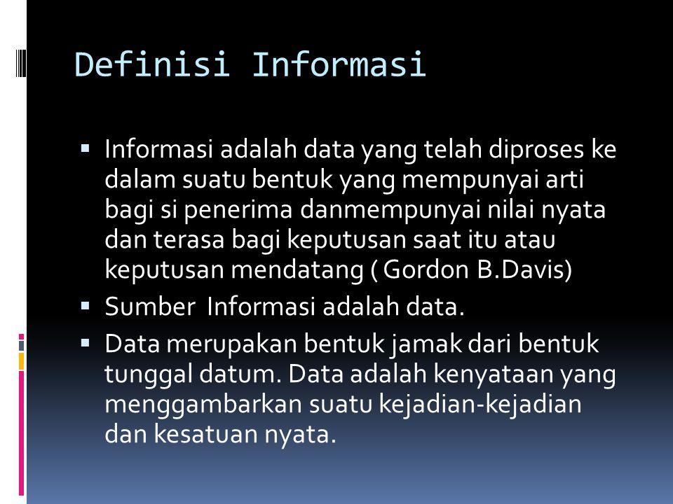 Definisi Informasi  Informasi adalah data yang telah diproses ke dalam suatu bentuk yang mempunyai arti bagi si penerima danmempunyai nilai nyata dan