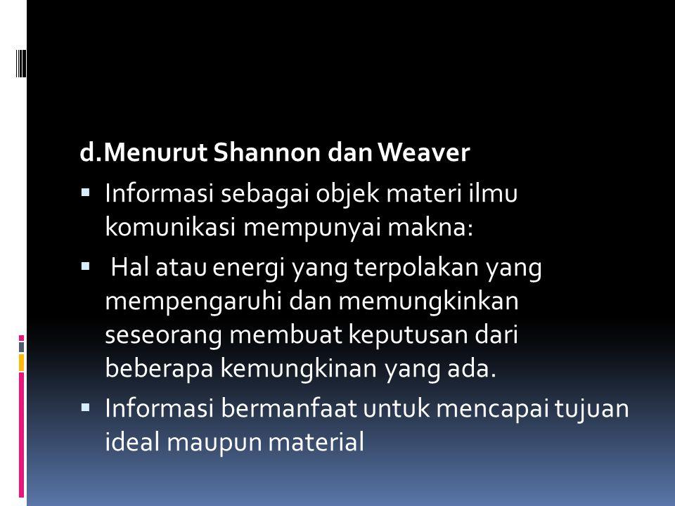 d.Menurut Shannon dan Weaver  Informasi sebagai objek materi ilmu komunikasi mempunyai makna:  Hal atau energi yang terpolakan yang mempengaruhi dan