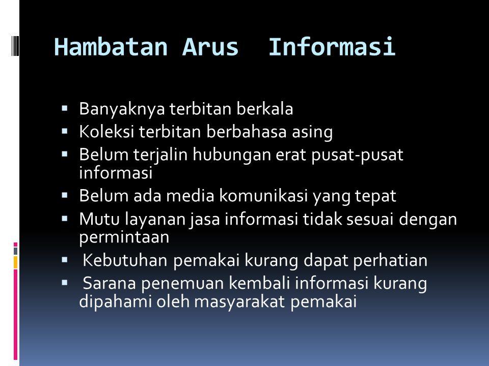 Hambatan Arus Informasi  Banyaknya terbitan berkala  Koleksi terbitan berbahasa asing  Belum terjalin hubungan erat pusat-pusat informasi  Belum a
