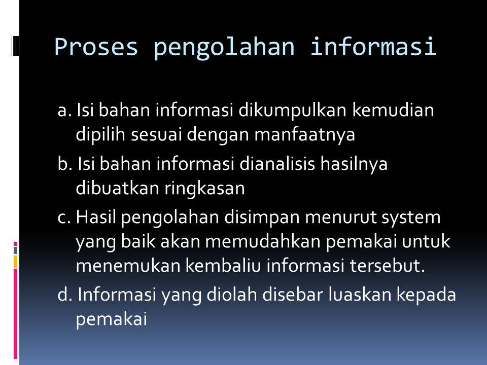 Proses pengolahan informasi a. Isi bahan informasi dikumpulkan kemudian dipilih sesuai dengan manfaatnya b. Isi bahan informasi dianalisis hasilnya di