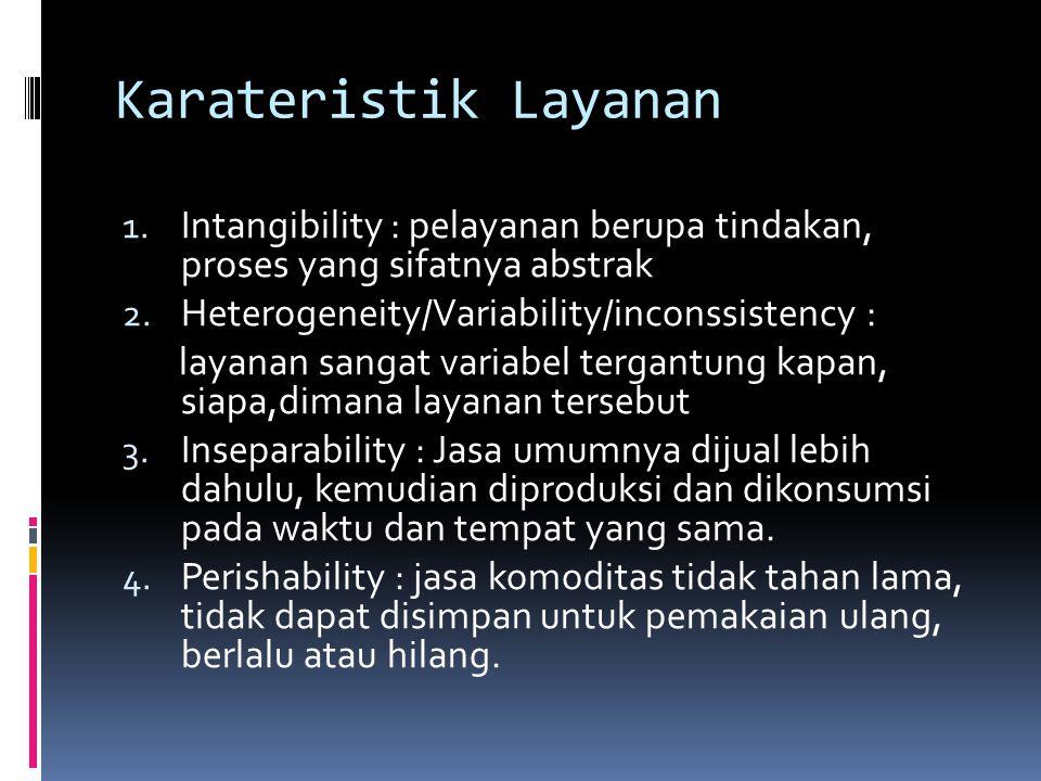 Karateristik Layanan 1. Intangibility : pelayanan berupa tindakan, proses yang sifatnya abstrak 2. Heterogeneity/Variability/inconssistency : layanan
