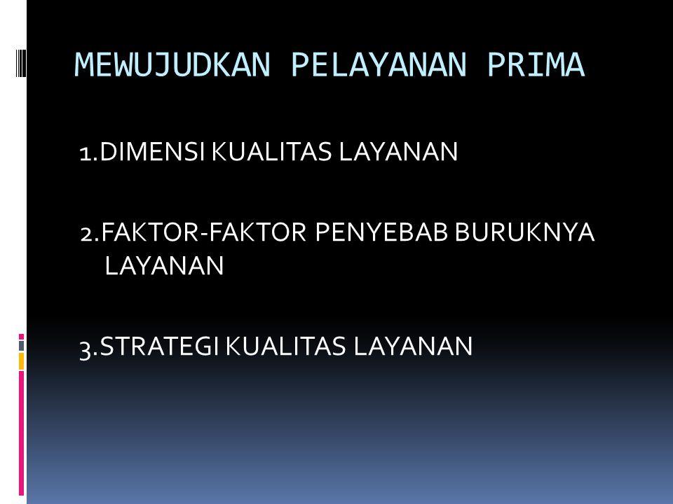 MEWUJUDKAN PELAYANAN PRIMA 1.DIMENSI KUALITAS LAYANAN 2.FAKTOR-FAKTOR PENYEBAB BURUKNYA LAYANAN 3.STRATEGI KUALITAS LAYANAN