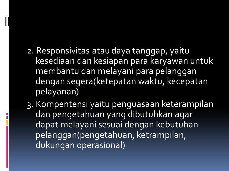 2. Responsivitas atau daya tanggap, yaitu kesediaan dan kesiapan para karyawan untuk membantu dan melayani para pelanggan dengan segera(ketepatan wakt