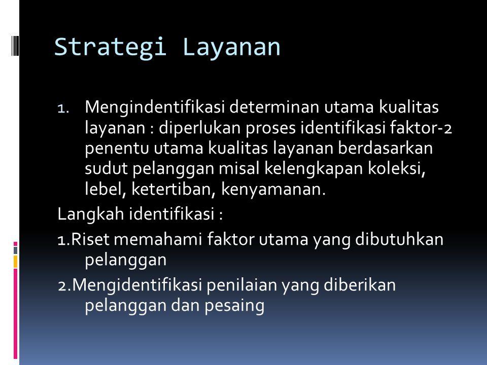 Strategi Layanan 1. Mengindentifikasi determinan utama kualitas layanan : diperlukan proses identifikasi faktor-2 penentu utama kualitas layanan berda