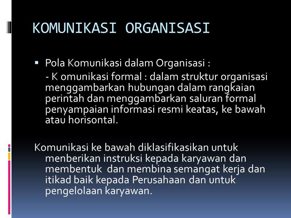 KOMUNIKASI ORGANISASI  Pola Komunikasi dalam Organisasi : - K omunikasi formal : dalam struktur organisasi menggambarkan hubungan dalam rangkaian per