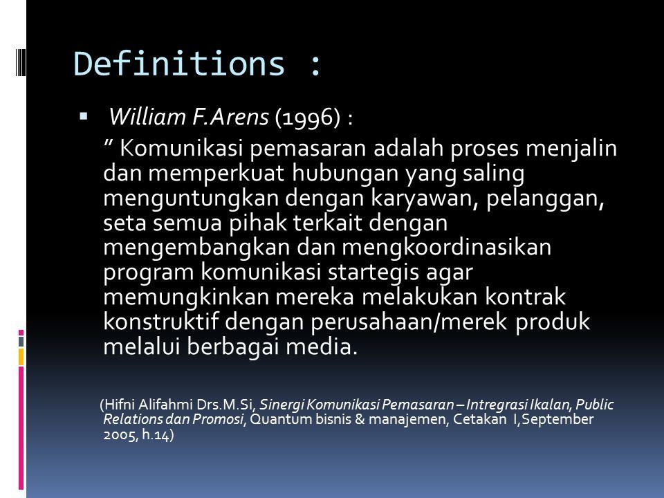 """Definitions :  William F.Arens (1996) : """" Komunikasi pemasaran adalah proses menjalin dan memperkuat hubungan yang saling menguntungkan dengan karyaw"""