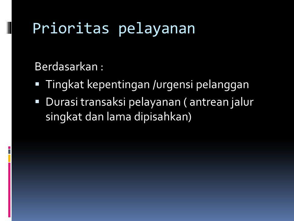 Prioritas pelayanan Berdasarkan :  Tingkat kepentingan /urgensi pelanggan  Durasi transaksi pelayanan ( antrean jalur singkat dan lama dipisahkan)