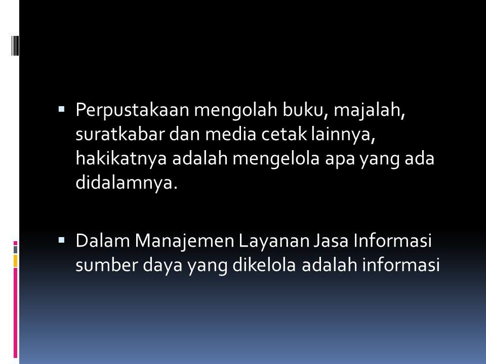  Perpustakaan mengolah buku, majalah, suratkabar dan media cetak lainnya, hakikatnya adalah mengelola apa yang ada didalamnya.  Dalam Manajemen Laya