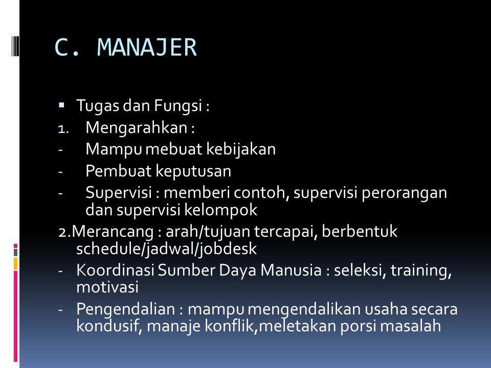 C. MANAJER  Tugas dan Fungsi : 1. Mengarahkan : - Mampu mebuat kebijakan - Pembuat keputusan - Supervisi : memberi contoh, supervisi perorangan dan s