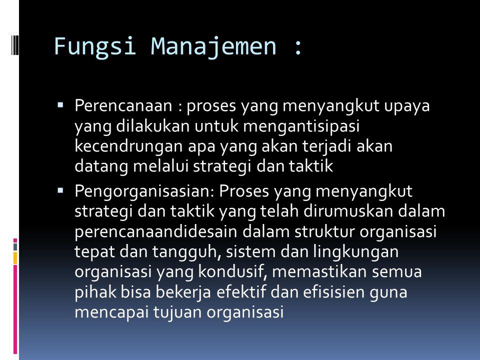 Fungsi Manajemen :  Perencanaan : proses yang menyangkut upaya yang dilakukan untuk mengantisipasi kecendrungan apa yang akan terjadi akan datang mel
